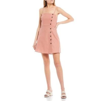 カッパーキー レディース ワンピース トップス Button Front Spaghetti Strap Dress