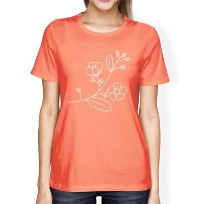 レディース 衣類 トップス Flower Womens Peach Short Sleeve Graphic Tee Summer Cute Trip Shirt グラフィックティー