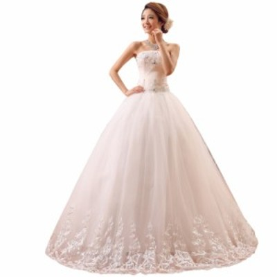 ウェディングドレス ロング 二次会 花嫁 Aラインドレスホワイト 白 編み上げ