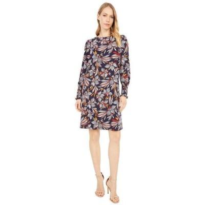 ロンドンタイムス レディース ワンピース トップス Feather Floral Puff Sleeve Smocked Cuff Sheath Dress