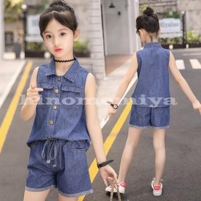 韓国子供服セットアップキッズ女の子トップスショートパンツ2点セット夏薄手デニム上下セット子ども服ジュニア可愛い通学着お出かけ110-160cm