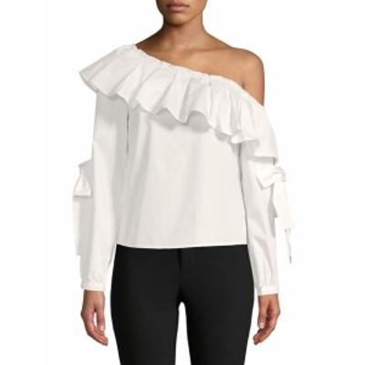 イングリッシュファクトリー レディース トップス シャツ Ruffle Asymmetrical Neck Cotton Top