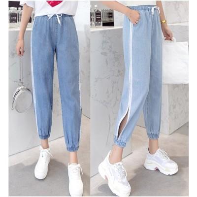 全2色 パンツ 体型カバー 着痩せ ハイウエスト ワイドパンツ バギーパンツ 透け編み ストライプ柄