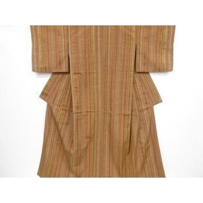 宗sou 縞に更紗模様織り出し手織り紬着物【リサイクル】【着】