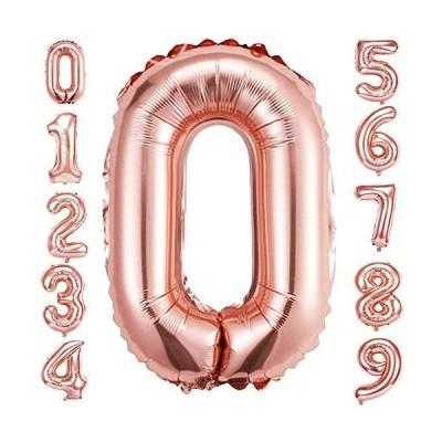 HiHK 約101cm 誕生日 数字 バルーン 風船 ナンバー 風船 数字バルーン ゴム風船 誕生日 パーティー飾りに ローズゴールド