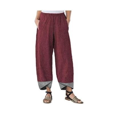 Wide Leg Pants for Women Boho Cotton Linen Elastic Waist Cropped Pants Casu