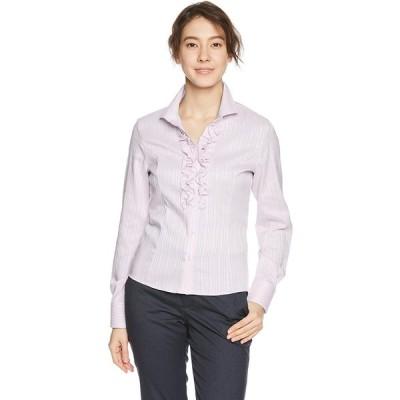 [ナラ カミーチェ] サテンストライプスタンドカラーフリルシャツ 10-81-01-039 レディース ピンク 日本 L (日本サイズ11 号相当)