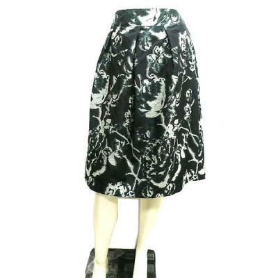 【中古】【新古品】PINORE ピノーレ  スカート 春 膝下丈 黒系柄 サイズ40 L