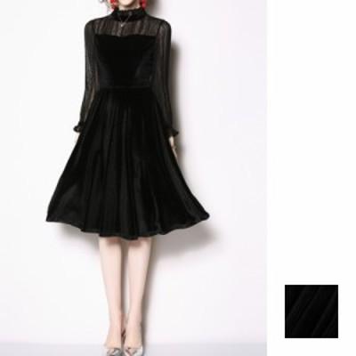 韓国 ファッション レディース ワンピース パーティードレス ひざ丈 ミディアム 秋 冬 パーティー ブライダル naloG856 結婚式 お呼ばれ