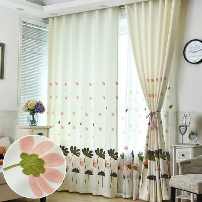 オーダー カーテン おしゃれ 北欧 子供部屋 かわいい 刺繍 花柄 飾り 遮光 ドレープ リビング 幅60〜100cm丈60〜100cm 片開き1枚 両開き2枚組 送料無料