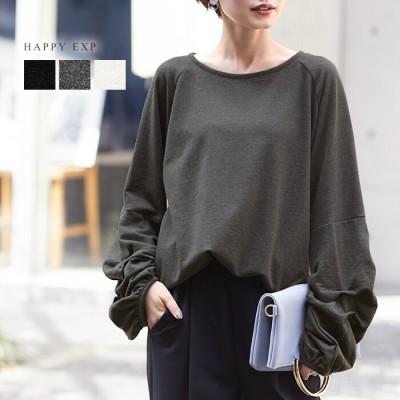 [当日出荷]デザイン性のある袖に注目。ミニ裏毛タックボリュームカットソー。2020秋冬新作 国内発送 wk0190