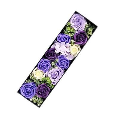 HANAYUME プレゼント フラワーソープ ボックスフラワーギフトフラワー 花 誕生日プレゼント (パープル)
