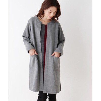 SHOO・LA・RUE/シューラルー 【M-LL】ノーカラーダブルフェイスジャケット グレー(012) 03(L)