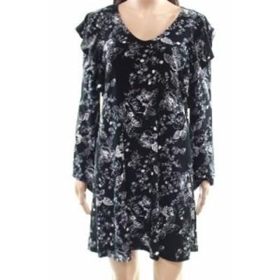 Ruffle  ファッション ドレス Free Press NEW Black Womens Size Small S Floral Ruffle Shift Dress
