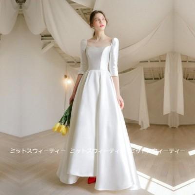 ウェディングドレス aラインドレス 安い ウエディングドレス 二次会 花嫁 パーティードレス 披露宴 ブライダル 結婚式 ロングドレス 演奏会 白 クラシックドレス