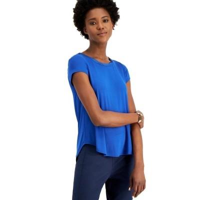 アルファニ Tシャツ トップス レディース Satin-Trim High-Low T-Shirt, Created for Macy's Classic Cobalt