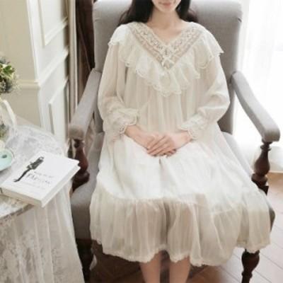 レディース 白い 姫系 長袖 パジャマ 綿 レース チュール ワンピース ネグリジェ 寝巻き パジャマ ロマンティック 女性用 部屋着 ナイト