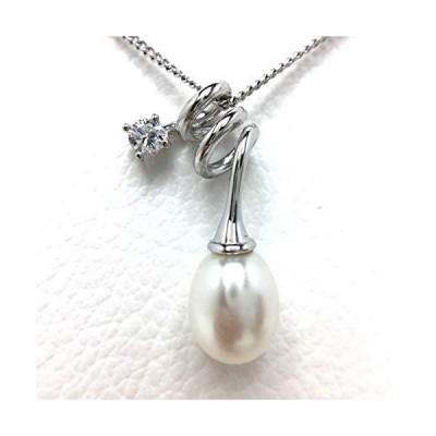 Isowa Pearl(伊勢志摩の真珠専門店 イソワパール) 淡水真珠 ペンダントトップ 8.0-9.0mm ホワイト シルバー ジルコン