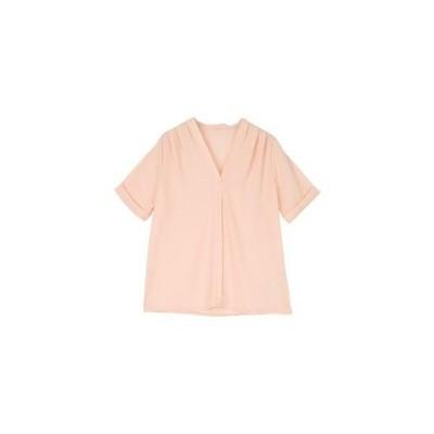 タックVネック5分袖ブラウス (ピンク)