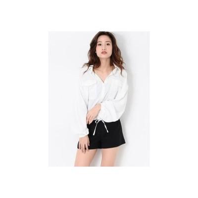 EGOIST 裾ドロストデザインシャツ ホワイト
