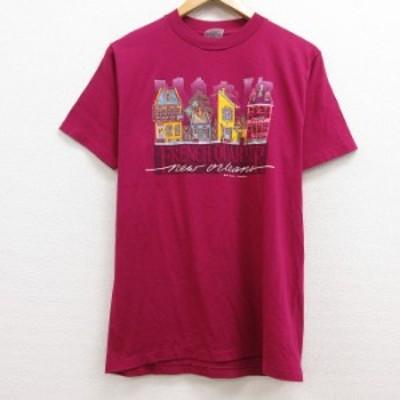 古着 半袖 ビンテージ Tシャツ 80年代 80s 家 FRENCH クルーネック USA製 紫 パープル Mサイズ 中古 メンズ Tシャツ 古着
