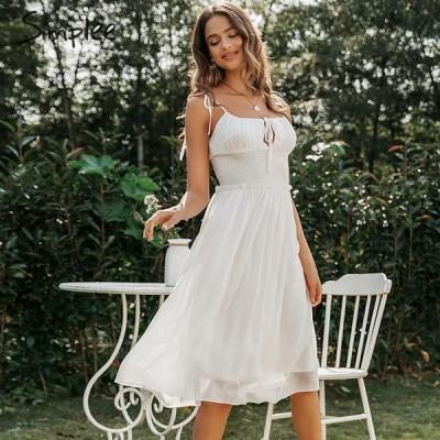 ドレス ノースリーブ シフォン ホワイト ネック シャーリング 夏 カジュアル シック ホリデー パーティー おしゃれ かわいい セクシー 大人