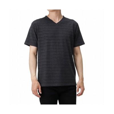(MAC HOUSE(men)/マックハウス メンズ)NAVY ネイビー 引き揃えVネック半袖Tシャツ MH/03669SS/メンズ ブラック