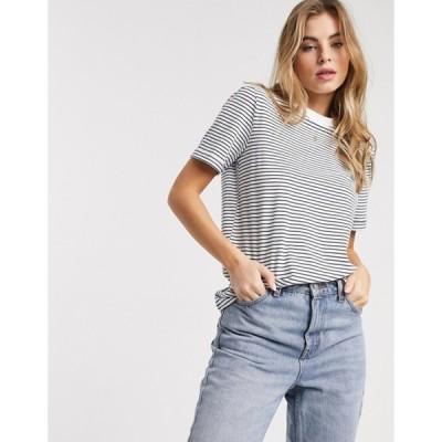 ピーシーズ レディース シャツ トップス Pieces t-shirt in white and navy stripe