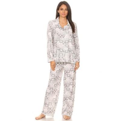 レディース 衣類 トップス 2156 Womens Sleepwear Pajamas Woman Long Sleeve Button Down set Gray M Tシャツ