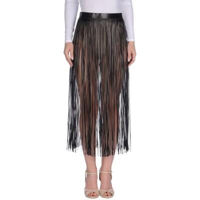 ヴァレンティノ VALENTINO 7分丈スカート ブラック 44 羊革(ラムスキン) 100% 7分丈スカート