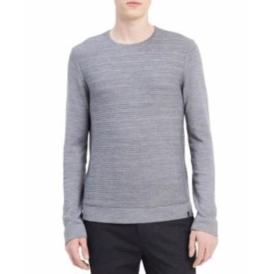 Calvin Klein カルバンクライン ファッション トップス Calvin Klein NEW Gray Mens Size Medium M Ribbed Crewneck Sweater