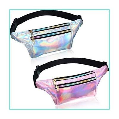 【新品】2 Pieces Holographic Shiny Fanny Pack Metallic Sport Waist Bag with 3 Pouch and Adjustable Belt for Traveling Running (Silver, Pink)(並