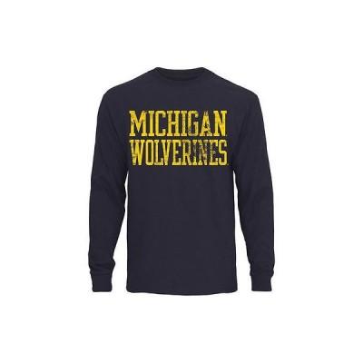 ファナティックス ブランディッド カレッジ 大学 スポーツ NCAA アメリカ USA 全米 Michigan Wolverines ネイビー ブルー ストレート Out 長袖 Tシャツ