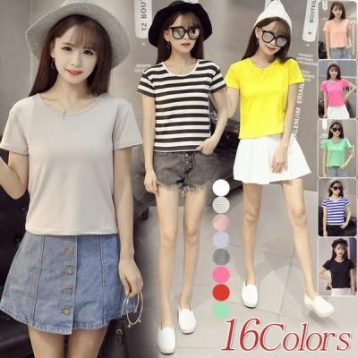 Tシャツ 半袖  ゆったり大きいサイズ 春夏 レディース 無地 シンプル 白・黒・ばら色3色対応 tシャツ ホワイト ブラック ローズレッド クルーネ