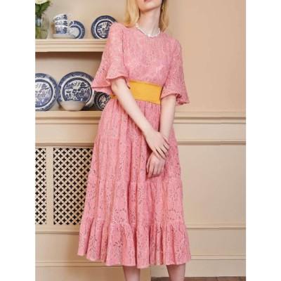 Bakewell Lace Midi Dress (PINK)