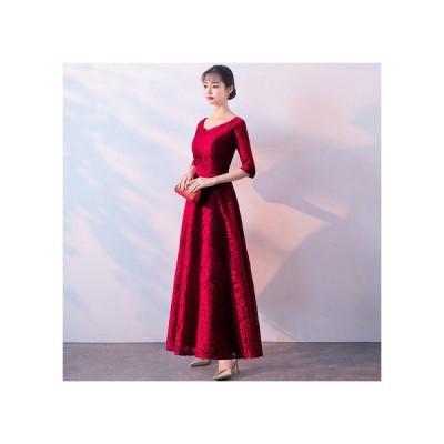 イブニングドレス パーティードレス ウエディングドレス ブライダル 安い 可愛い 結婚式 披露宴 花嫁 カラードレス ドレス【ロング ワインレッド】
