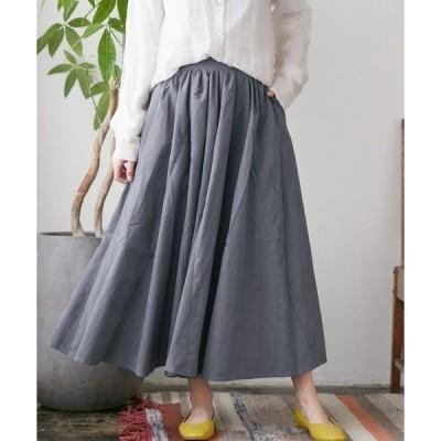 スカート デザインドレープロングフレアスカート