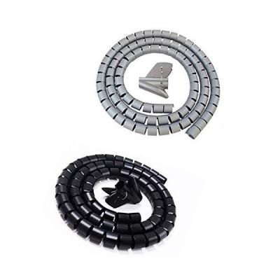 ケーブル収納チューブ、2本のバインディングワイヤ巻線管理システム、黒とグレー(長さ0.9m)