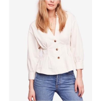 レディース 衣類 トップス Womens Blouse Medium Peplum Button Front M ブラウス&シャツ