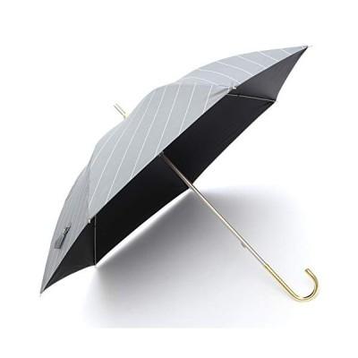 日傘 超軽量 長傘 uvカット 100 遮光 レディース 完全遮光 ブランド ストライプ ボーダー おしゃれ(ブラックFL221)