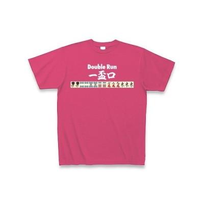 麻雀の役 一盃口<イーペーコー>-Double Run-白ロゴ Tシャツ Pure Color Print(ホットピンク)