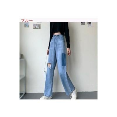 【送料無料】穴のジーンズ 女 夏 韓国風 デザイン 感 ハイウエスト ルース ワイド | 364331_A63290-3650276