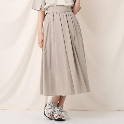 クチュール ブローチ Couture brooch タックリボンタイプライターフレアスカート (ライトベージュ)