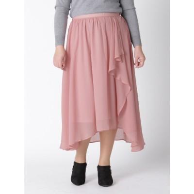 【大きいサイズ】【L-3L】ゆったりサイズ!イレギュラーヘムロングスカート 大きいサイズ スカート レディース