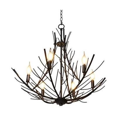 [新品]Tangkula Farmhouse Branch Chandeliers, Industrial Vintage Pendant Light w/6 Metal Lampshade, Iron Ceiling Lamp with Imitating Br