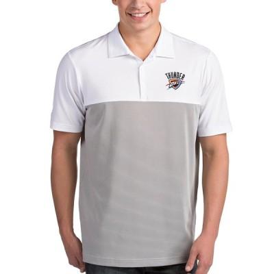 """メンズ ポロシャツ """"Oklahoma City Thunder"""" Antigua Venture Polo - White/Gray"""
