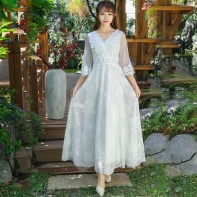 リゾートワンピース ホワイト白 透かし袖 Vネック 背開き ロング レース ワンピース Aライン パーティードレス 花嫁 披露宴 結婚式 上品
