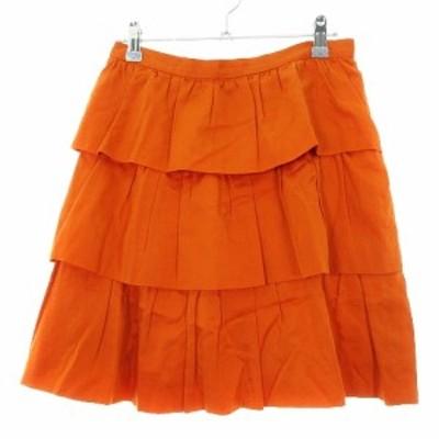【中古】イエナ スカート フレア ミニ ティアード 薄手 コットン 絹 シルク 無地 38 オレンジ ボトムス レディース