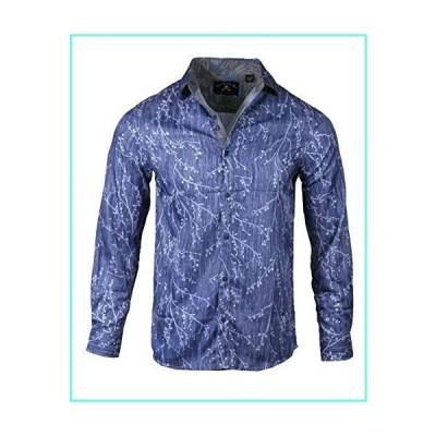 Rock Roll n Soul Men's Fashion 'Ride The Lightning' in Navy Long Sleeve Button-Up Shirt 852 (Large)並行輸入品