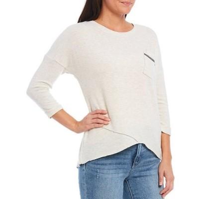 デモクラシー レディース Tシャツ トップス Knit 3/4 Sleeve Asymmetrical Hem Pocket Tee